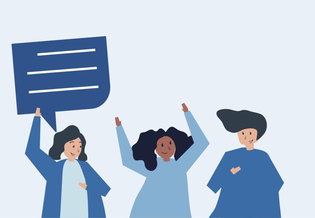 Illustration mit Menschen, die miteinander motiviert sprechen möchten.