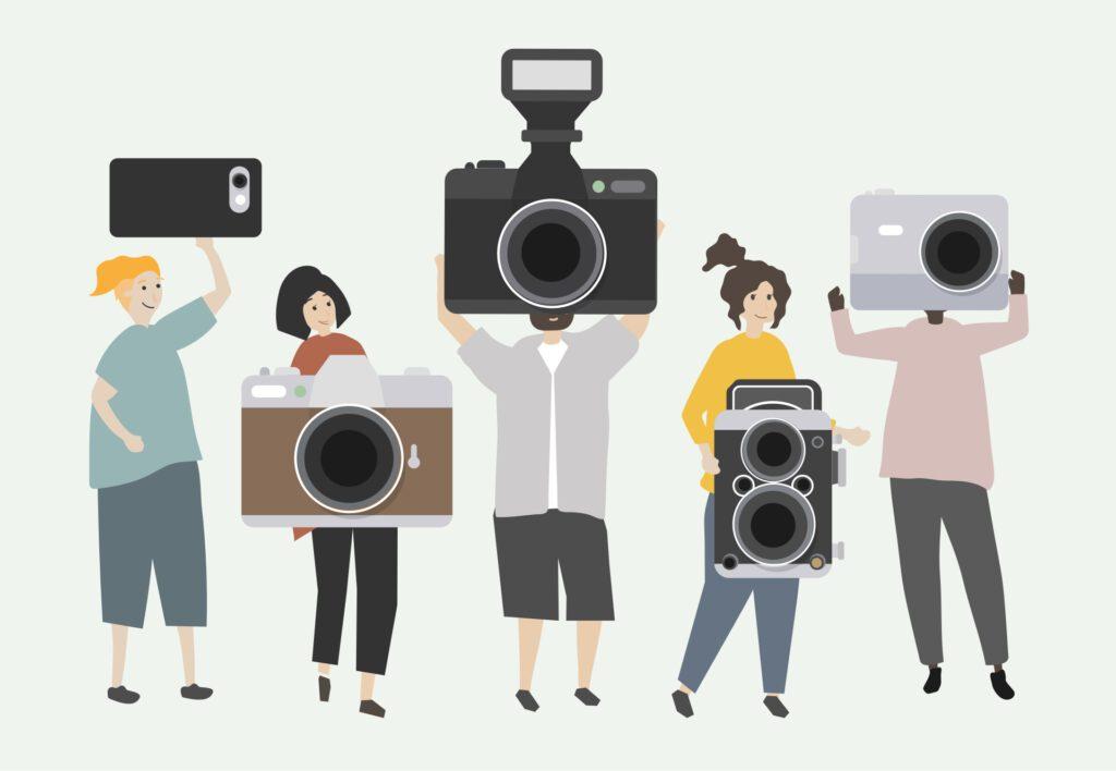 Illustration von Menschen,, die große Fotoapparate in den Händen halten
